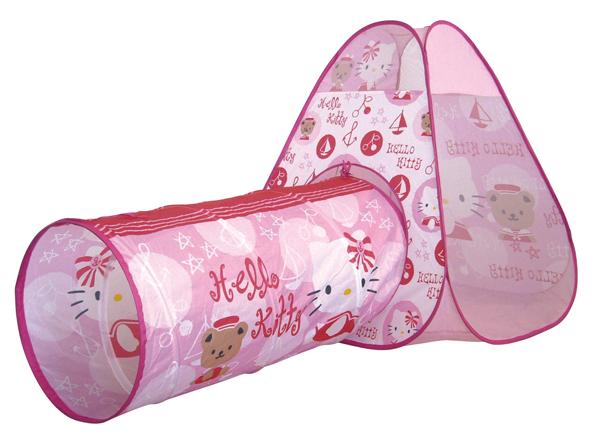 hello kitty tent for children with tunnel insportline. Black Bedroom Furniture Sets. Home Design Ideas