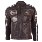 Leather Moto Jacket BOS 2058 Brown