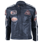Leather Motorcycle Jacket BOS 2058 Navy