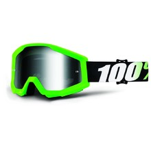 Motocross Goggles 100% Strata - Arkon Green, Silver Chrome Plexi with Pins for Tear-Off Foils