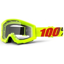 Motocross Goggles 100% Strata - Mercury Fluo Yellow, Clear Plexi with Pins for Tear-Off Foils