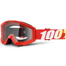 Motocross Goggles 100% Strata - Furnace Red, Clear Plexi with Pins for Tear-Off Foils