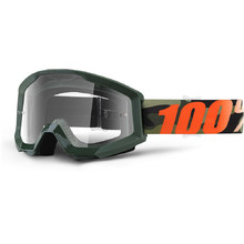 Motocross Goggles 100% Strata - Huntitistan Dark Green, Clear Plexi with Pins for Tear-Off Foils