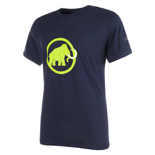Men's Sports T-Shirt MAMMUT Logo – Short Sleeve - Dark Blue with Green Logo