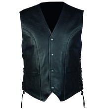 Men's Leather Motorcycle Vest OZONE Staff - Black