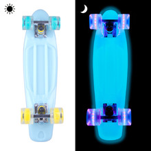 Glowing Pennyboard WORKER Lumy 22ʺ - Blue with Colourful Wheels