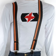 Suspenders Oxford Riggers - Cruiser, Black with Orange Stripes