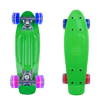 "Mini Penny Board WORKER Pico 17"" with Light Up Wheels - Green"