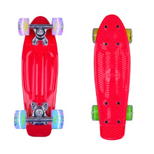 "Mini Penny Board WORKER Pico 17"" with Light Up Wheels - Red"