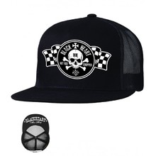Snapback Hat BLACK HEART Flag Trucker - Black