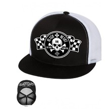 Snapback Hat BLACK HEART Start Flag Trucker - White
