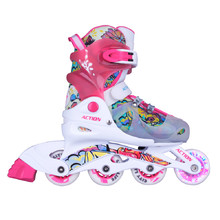 Adjustable Children's Rollerblades with Light-Up Wheels Action Doly - Pink