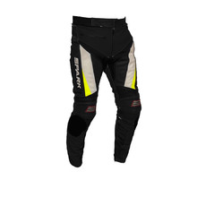Men's Leather Moto Pants Spark ProComp - Black-White-Fluo