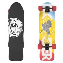 "Mini Longboard Fish Old School Cruiser Flounder 31"" - Black-Red"