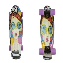 "Penny Board ArtFish Face 22"" - Black-Violet"