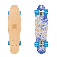 Penny Board Fish Classic Wood - Flowers-Silver-Transparent Blue