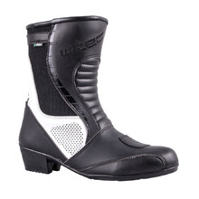 Women's Leather Motorcycle Boots W-TEC Beckie W-5036 - Black-White