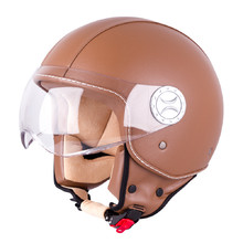 Scooter Helmet W-TEC FS-701B Leather Brown - Brown