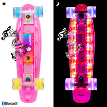 "Light-Up Penny Board WORKER Ravery 22"" with Bluetooth Speaker - Transparent Pink/Yellow"