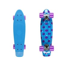 "Penny Board Fish Print DOTS 22"" - Silver-Purple"