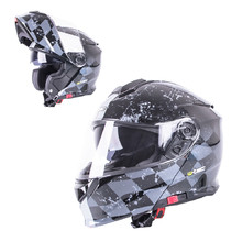 Flip-Up Motorcycle Helmet W-TEC V271 - Black-Grey