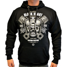 Hooded Sweatshirt BLACK HEART Piston Skull Hood - Black