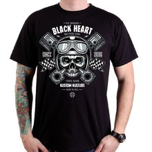 T-Shirt BLACK HEART Piston Skull - Black