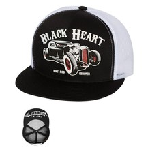 Snapback Hat BLACK HEART Rat Rod Trucker