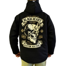 Insulated Hooded Sweatshirt BLACK HEART Devil Skull Lined - Black