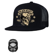 Snapback Hat BLACK HEART Devil Skull Trucker - Black