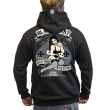 Hooded Sweatshirt BLACK HEART Hot Rod Bell Zip - Black