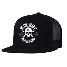 Snapback Hat BLACK HEART Bastard Skull Trucker - Black