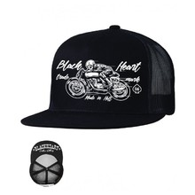 Snapback Hat BLACK HEART Vintage Trucker - Black