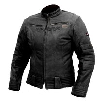 Women's Leather Motorcycle Jacket SPARK Betty - Black