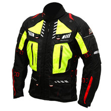 Men's Textile Moto Jacket Spark Expedition - Black-Fluo Yellow