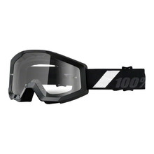 Motocross Goggles 100% Strata - Goliath Black, Clear Plexi with Pins for Tear-Off Foils
