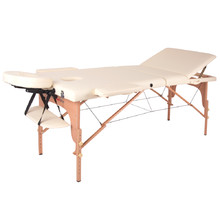Massage Table inSPORTline Japane 3-Piece Wooden - Cream Yellow