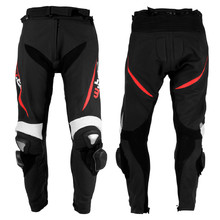 Men's Leather Moto Trousers W-TEC Vector - Black-Red