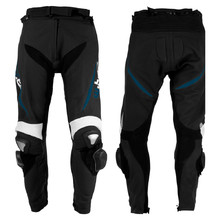 Men's Leather Moto Trousers W-TEC Vector - Black-Blue