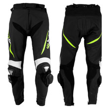 Men's Leather Moto Trousers W-TEC Vector - Black-Fluo