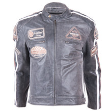 Leather Moto Jacket BOS 2058 Vintage Grey