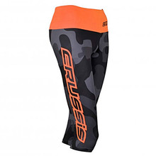 Women's Knee Length Leggings CRUSSIS Gray-Orange - Grey Camo/Fluo Orange