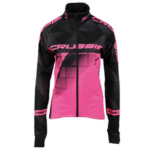 Women's Cycling Jacket CRUSSIS Black-Fluo Pink - Black-Pink