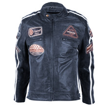 Women's Leather Motorcycle Jacket BOS 2058 Lady Navy - Dark Navy