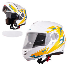 Flip-Up Motorcycle Helmet W-TEC Vexamo PI Graphic w/ Pinlock - White Graphic