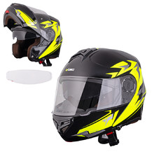 Flip-Up Motorcycle Helmet W-TEC Vexamo PI Graphic w/ Pinlock - Black Graphic