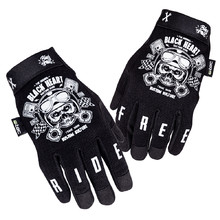 Motorcycle Gloves W-TEC Black Heart Piston Skull - Black