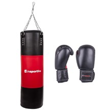 Filling Punching Bag 50-100kg with Boxing Gloves inSPORTline - Black-Red