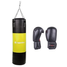 Filling Punching Bag 50-100kg with Boxing Gloves inSPORTline - Black-Yellow
