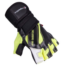 Leather Fitness Gloves inSPORTline Perian - Black-Yellow